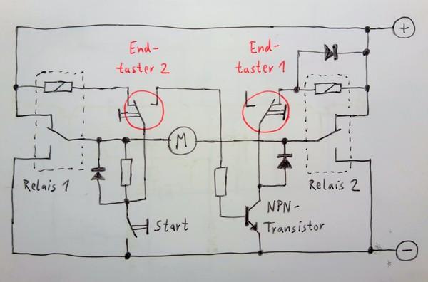 Motor Umpolung mit zwei Wechsler Relais